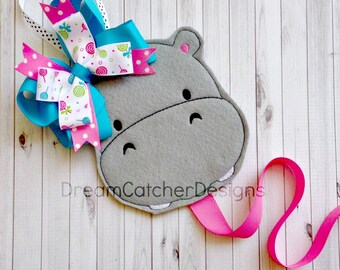 ITH Hippo Bow/Clippie/Clippy Holder/Keeper Felt Embroidery Design
