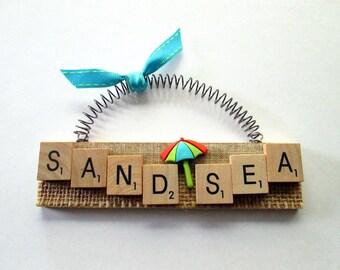 Sand and Sea Scrabble Tile Ornament