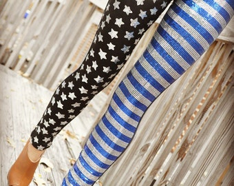 Black and Blue American Flag Leggings Adorned with Sequins