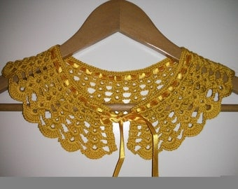 mustard yellow 100%cotton crochet collar