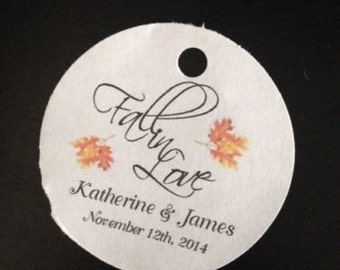 PERSONALIZED Round Wedding Favor Tags Fall In Love White Or Ivory 20 60 or 100 Tags