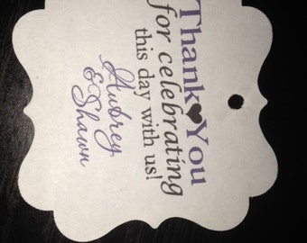 Wedding Favor Tags Thank You Celebrating  Square Personalized Wedding Gift Tags
