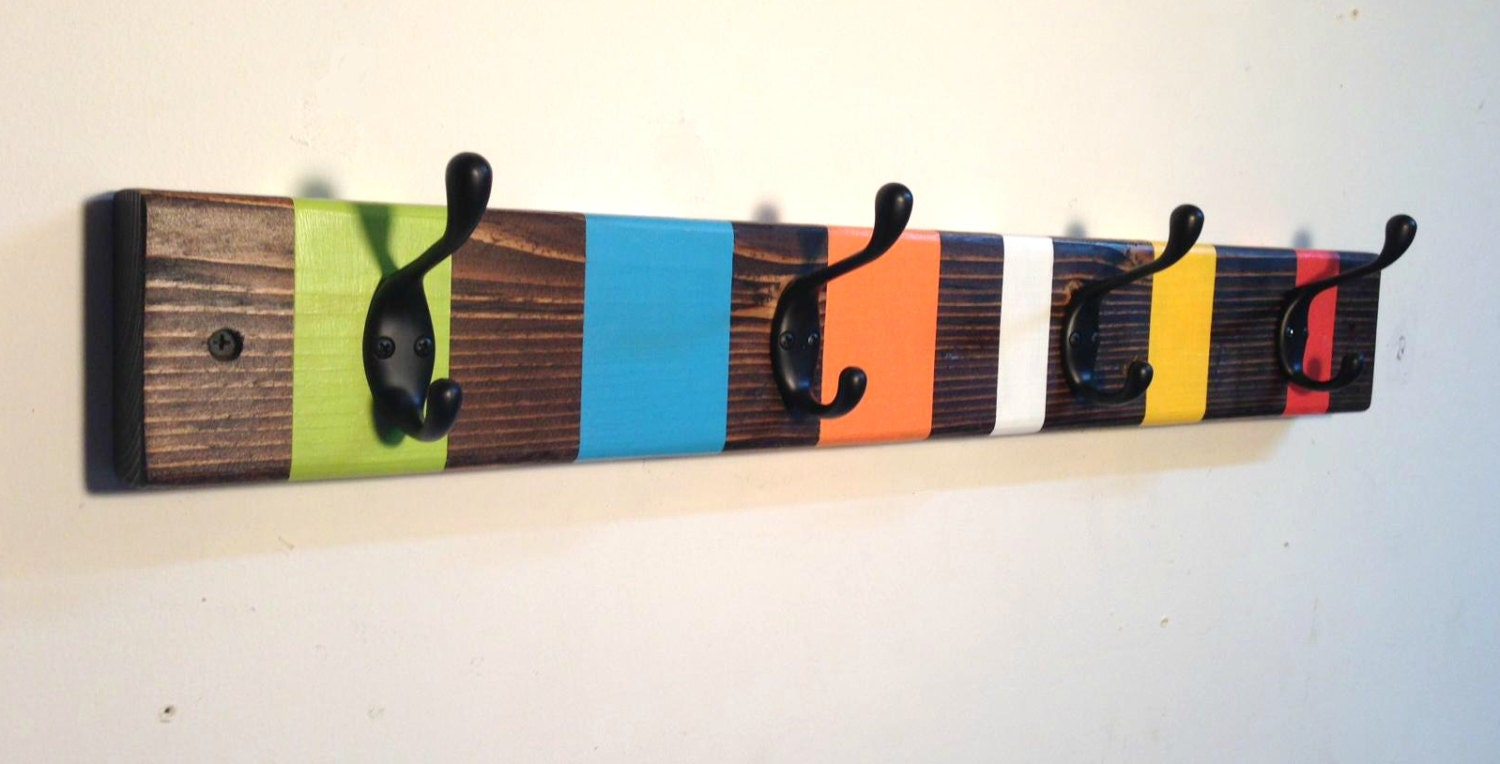 Rustic wall coat rack childrens coat hook rack by Kids coat rack