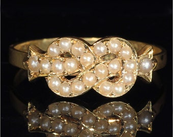Antique Victorian Pearl Set Love Knot Ring, Hallmarked 1886
