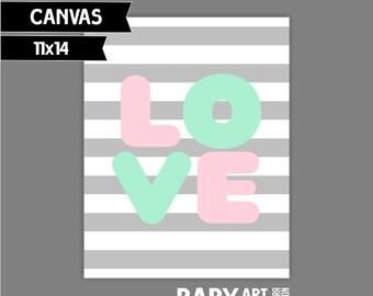 Mint, Light pink, Grey Nursery art print Love  11x14 ( SP1114030)