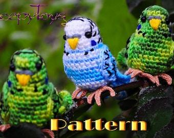 PDF Pattern - Amigurumi Budgie (crochet budgerigar)