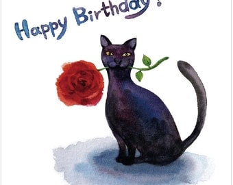 Watercolour Birthday Card- Cat with a Rose