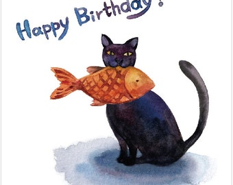 Watercolour Birthday Card- Cat with a Fish