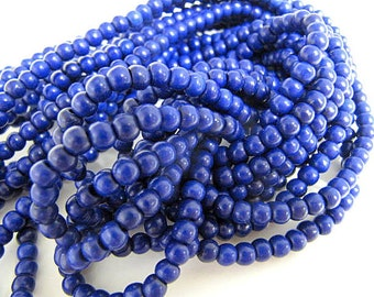 Turquoise Bead Strand, Synthetic, Blue, Dyed, Round, 6mm, 67 Piece Strand, Sale, Jewelry Supply