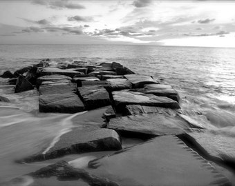 Beach jetty black and white photo print