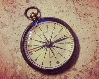 Vintage Style Crew Captain Compass Pendant - Charm - Nautical - Antique Brass