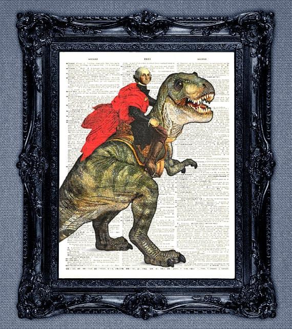 President George Washington riding a T-Rex dinosaur dictionary