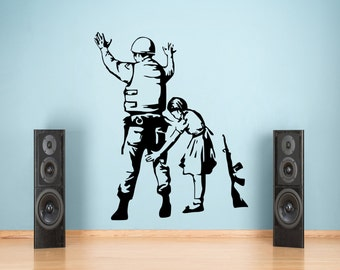 Banksy Soldier and Girl Graffiti Wall Decal Sticker Vinyl 55x80