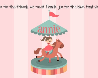 Personalized Placemat - Kids Placemat - Childrens Placemat - Childs Placemat - Laminated Placemat - Baptism Gift - Horse Carousel