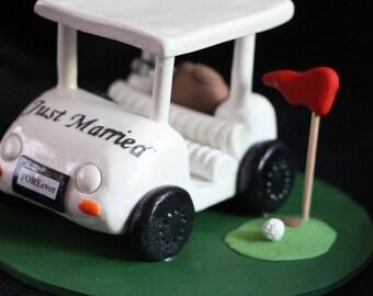 Handmade Polymer Golf Cart wedding Cake Topper