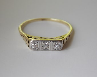 Early 1900s high profile, highly detailed diamond ring