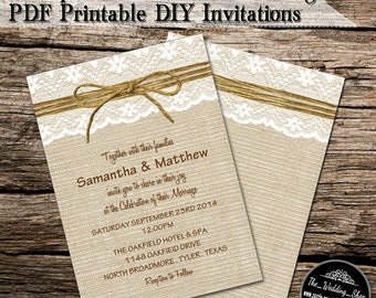 "5"" x 7"" Rustic Burlap, Lace & Twine Printable DIY Wedding Invitation PDF With Editable Text"