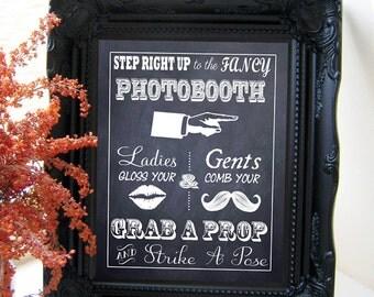 "Instant Download- Printable PDF JPEG DIY Chalkboard Wedding Sign: ""Fancy Photobooth"" 8"" x 10"""