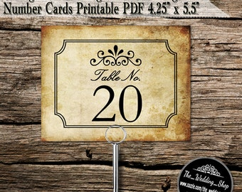 Instant Download- Printable PDF DIY Vintage Ticket Design Wedding Table Number Card Template; 4 Per Sheet