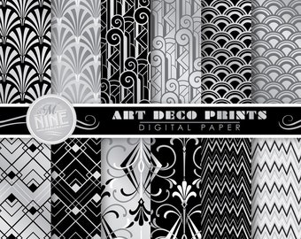 ART DECO Digital Paper: SILVER Art Deco Pattern Prints, Instant Download, Retro Movie Patterns Cinema Backgrounds Print