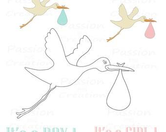 Baby boy stork   Etsy