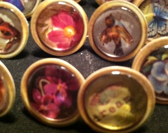 Vintage Style Eclectic PushPins Multi - Lot of 8!