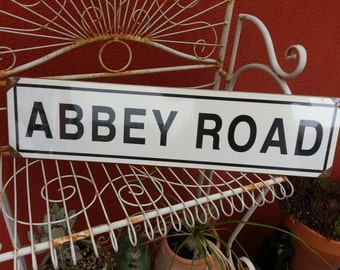 """ABBEY ROAD     metal sign  5x20""""  City of Westminster  Beatles black & white"""