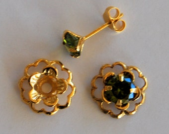 Emerald Green Gold Post Earring Set Includes Green Cubic Zirconia Posts and Gold Flower Style Earring Jacket