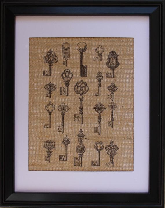 Keys Burlap Print Keys Printed On Burlap Fabric Key Burlap