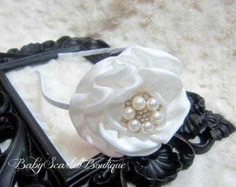White  Rosette Flower Toddler Hard Headband,Girl Hard Headband