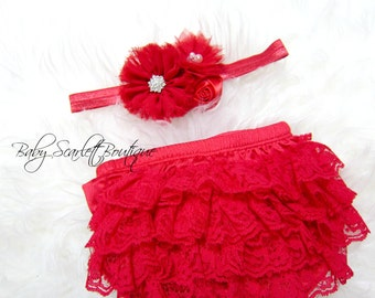Red Lace Baby Girl Ruffle Bloomer,Diaper Cover and Headband Set