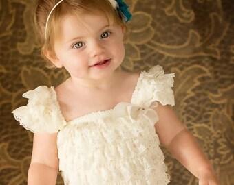 Ivory lace petti dress - vintage lace dress - bridesmaid dress - flower girl dress - ivory flower girl dress - cream lace petti dress