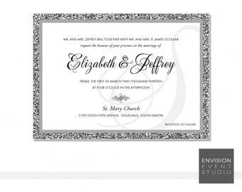 Glitter Wedding Invitation Ensemble