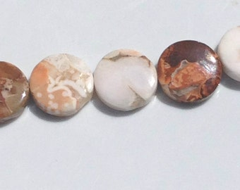 "Jasper; 16mm coins; 15 1/2"" strand; 24 pieces per strand"