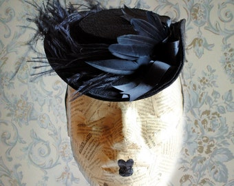 Black Victorian Mini Hat with Ostrich Plums,Gothic Tea-Party Mini Hat-Custom-Made to Order