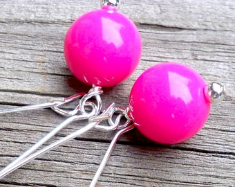 Hot Pink Earrings Pink Dangle Earrings Long Pink Earrings Pink Bead Earrings Hot Pink Kidney Hoop Earrings 10mm Hot Pink and Silver Earrings