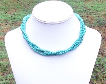 Lorena - Chunky Triple Strand Twisted Short 5mm Round Sea Green Turquoise Beaded Necklace