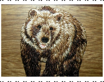 BROWN GRIZZLY BEAR, Lot of Details, Embroidered, Iron On Patch, by Cedar Creek Patch Shop