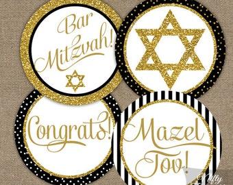 Bar Mitzvah Cupcake Toppers - Black & Gold Bar Mitzvah Decorations - Printable Bar Mitzvah Party Favor Tags - Bar Mitzvah Toppers - BGL