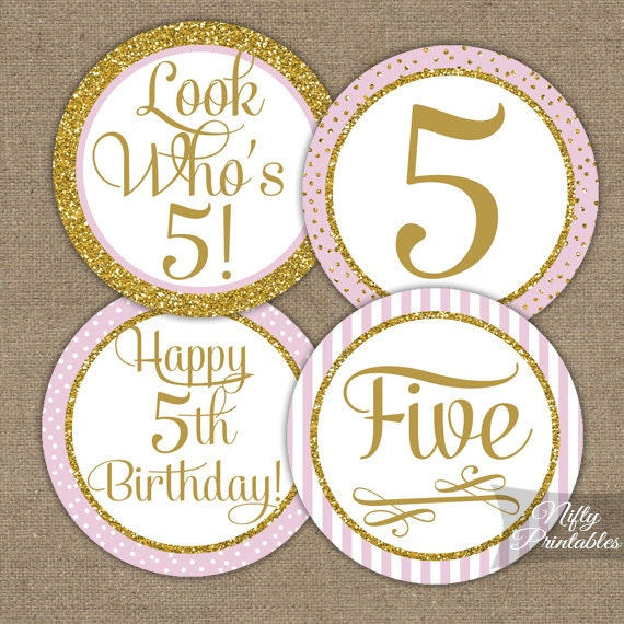 5th Birthday Cupcake Toppers Fifth Birthday Pink & Gold