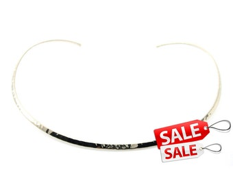 Silver Choker Nacklace Silver Hammered Necklace Silver Collar Necklace Hammered Silver Necklace Brass Choker Necklace Brass Necklace 082