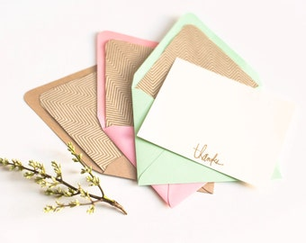 HH Signature Herringbone / Personalized Stationery Set Gold and Ivory Chevron Lined Envelopes and Flat Ivory Note Cards with Gold Embossing