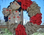Fourth of July Wreath-Memorial Day Wreath-Summer Wreath- Patriotic Wreath- Patriotic Burlap Wreath with Chevron Bow