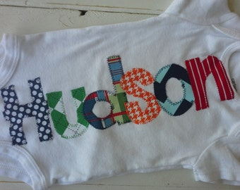 boys Personalized appliqued baby name onesie baby shower gift- navy, red and green colors applique name onesie