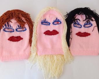 Monster Mask-  Knit  Pink Ski Mask Handmade 3 Hole Blond Black Brown Red Halloween Mask Halloween / Cosplay