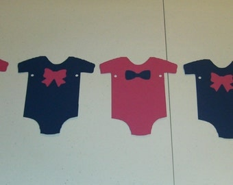 Gender Reveal onesie banner  Mustache Boy or Girl pink/blue (509B)