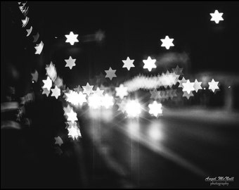 Stars, black and white, City Lights, Abstract, bokeh, sparkle, street photography, fine art photography print