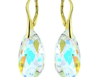 14k Gold Over 925 Sterling Silver Pear Swarovski Crystal Leverback Earrings