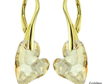 14k Gold Over 925 Sterling Silver Devoted Heart Swarovski Crystal Leverback Earrings