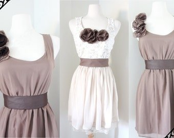 Country Style Bridesmaid Dress in Cream and Taupe Brown